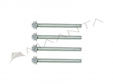 Set of 4 threaded rods made of galvanized steel M10 length 12 cm