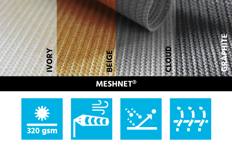 Meshnet 320 by Maanta breathable shade sail fabric hdpe