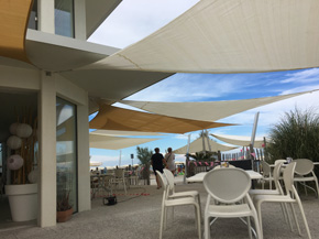 triangular shade sail awning composition